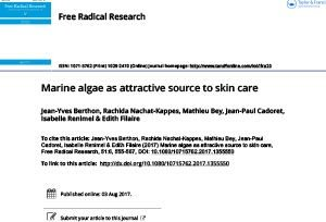 free radical research - marine algae - greentech