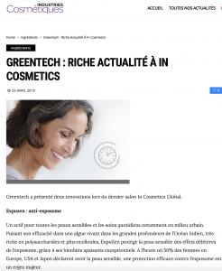 Industries cosmétiques actu greentech