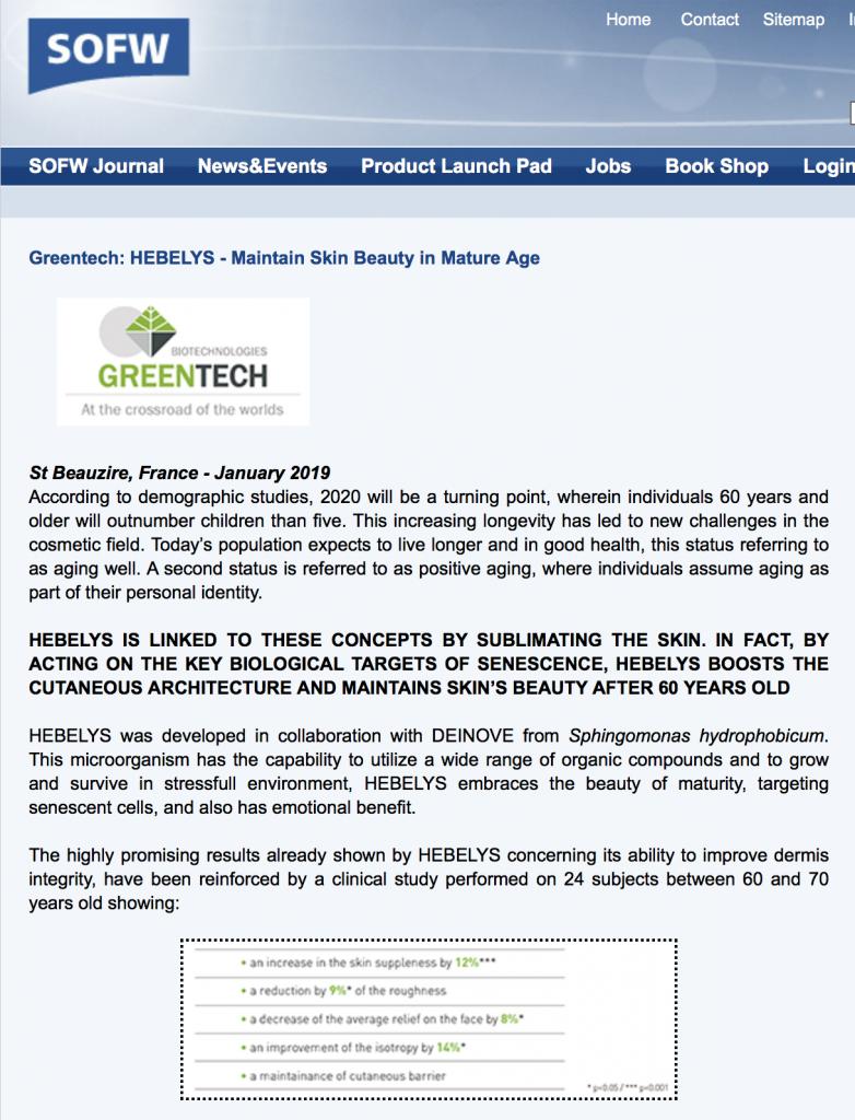 SOFW HEBELYS greentech 2019