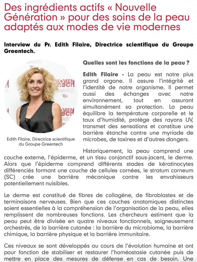 GREENTECH : Des ingrédients actifs « Nouvelle Génération » pour des soins de la peau adaptés aux modes de vie modernes