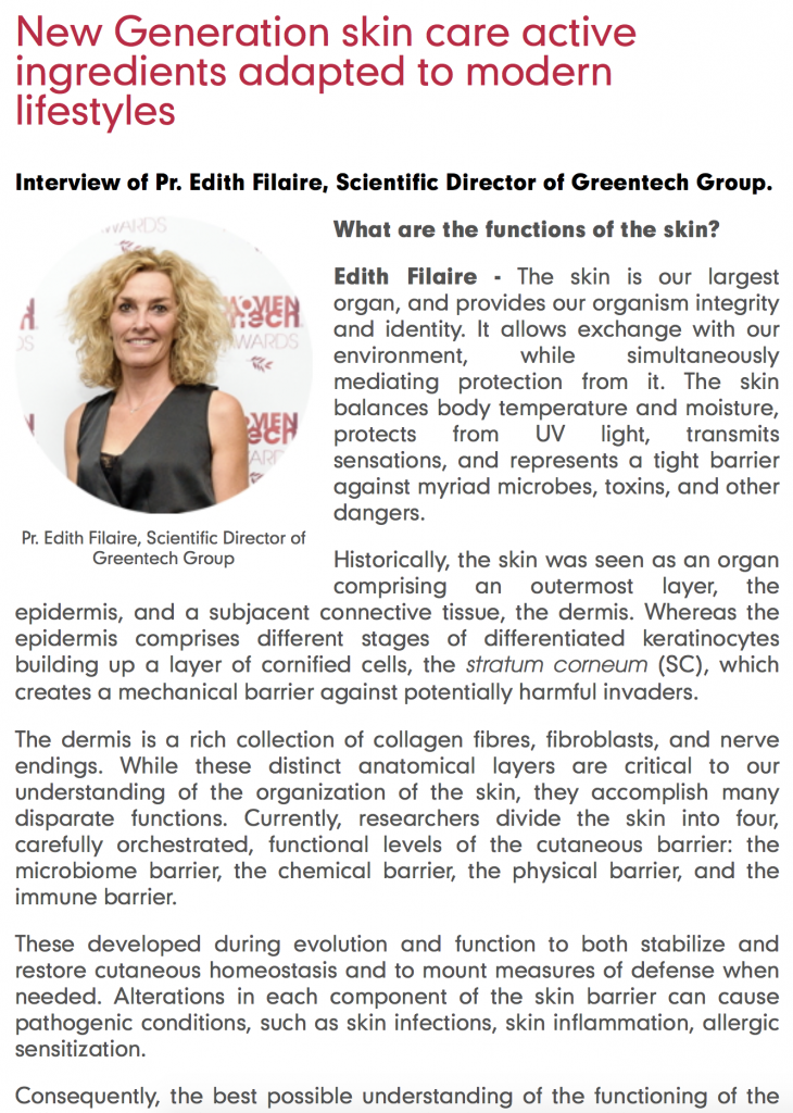GREENTECH : New Generation skin care active ingredients adapted to modern lifestyles.