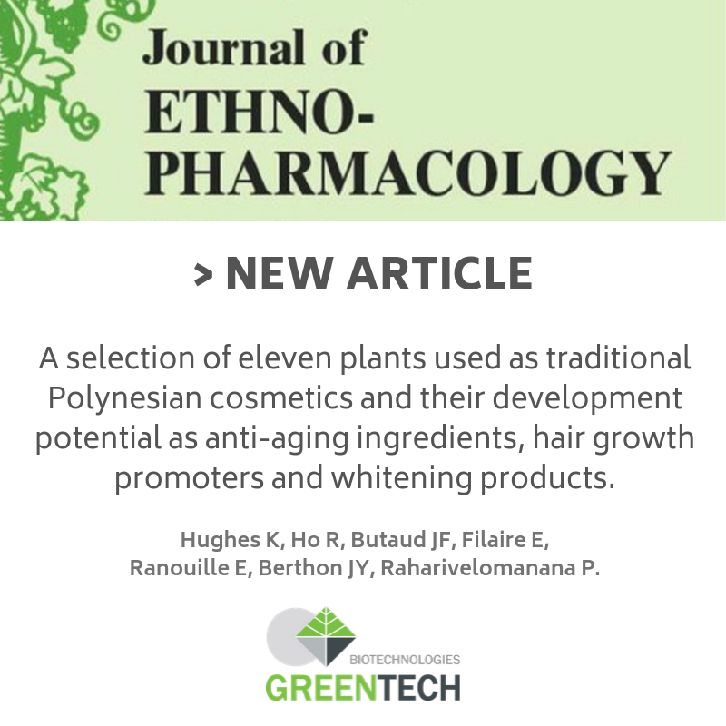 greentech ETHNOPHARMACOLOGICAL RELEVANCE: In French Polynesia, embellishment of the hair and skin is an important cultural and everyday practice. Yet, little research has focused on traditional preparations used for beautification in this region and their potential development as innovative cosmetic ingredients. AIM OF THE STUDY: In this present study we aim to assess and compile the ethnocosmetic potential of plants of French Polynesia to select and further study plants showing the most promise to be developed as anti-aging, anti-blemish and hair care products. MATERIALS AND METHODS: A literature analysis of plants of the IECIC list, present in French Polynesia was conducted. The most interesting plants from a cosmetic development standpoint were selected based on four main criteria, i.e. their traditional use in Polynesian cosmetic-related preparations, their biogeographical status, their phytochemistry of cosmetic interest, and lastly their availability and absence from the UICN list. Furthermore, a preliminary screening of antioxidant and anti-inflammatory activities was also performed on several extracts obtained. RESULTS: Eleven plants were chosen, and a compilation of multidisciplinary data emphasized each selected plant's potentiality. Traditional allegations showed uses ranging from dermatology such as wound healing or anti-inflammatory properties, to hair growth promoting preparations or even skin ligthening ones. Preliminary screenings were useful in narrowing the number of extracts to study. Literature-based data associated to traditional uses depicted how the remaining plants and plant parts could be developed for targeted cosmetic applications. CONCLUSIONS: A prospective approach of plants used traditionally for cosmetic purposes in French Polynesia gave insight on their development potential when paired with the appropriate multidisciplinary data. The eleven plants presented show promise in being developed sustainably as natural anti-aging or hair car