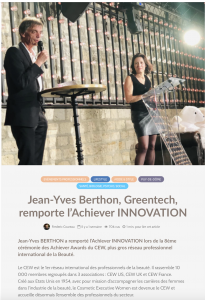 Jean-Yves Berthon, Greentech, remporte l'Achiever INNOVATION