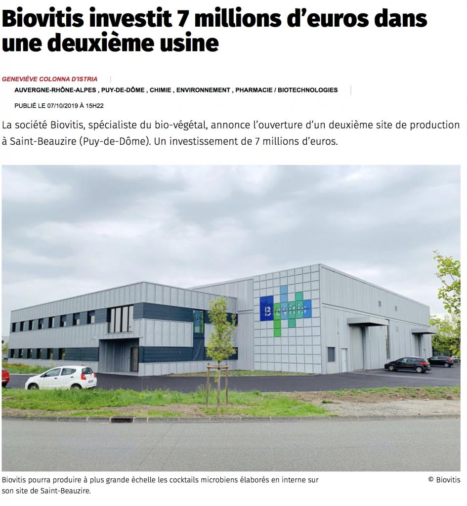 Biovitis investit 7 millions d'euros dans une deuxième usine