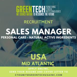 GREENTECH RECRUITMENT - Sales Manager - Mid Atlantic USA region