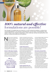 Personal Care Review, 100% naturally and efficient formulations are possible GREENTECH