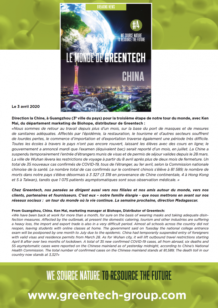 GREENTECH & Covid-19: the world tour where life goes on - China