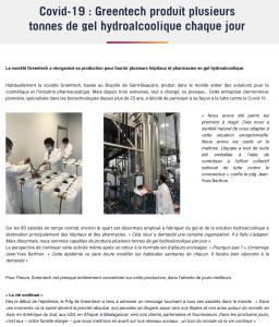 Covid-19 : Greentech produit plusieurs tonnes de gel hydroalcoolique chaque jour