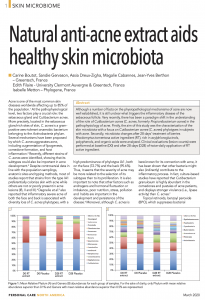 Personal Care Magazine : Natural anti-acne extract aids healthy skin microbiota, 2020