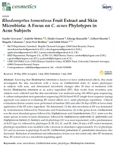 Cosmetics-Rhodomyrtus tomentosa Fruit Extract and Skin Microbiota: A Focus on C. acnes Phylotypes in Acne Subjects-Greentech