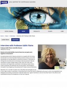Greentech Interview with Prof Edith Filaire, Greentech's Scientific Director