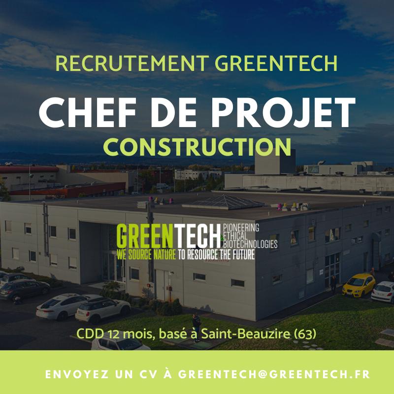 recrutement cdd greentech chef de projet construction